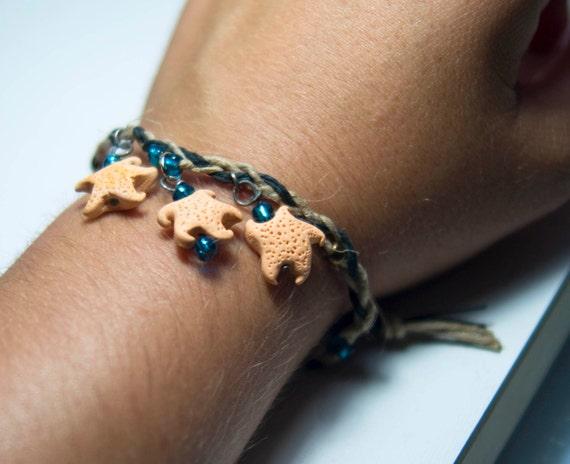 Hippie Hemp twine Starfish Bracelet