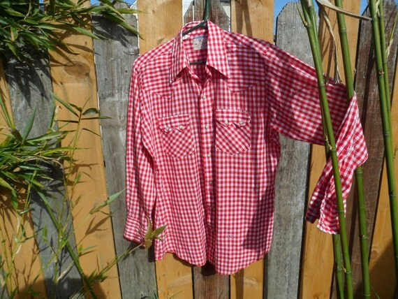 Vintage Men's Red and White Gingham Western Shirt