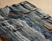 Handmade Jean Throw Rug Rustic Blue Denim