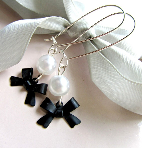 Black Bow and White Acrylic Pearl Silver Kidney Wire Earrings
