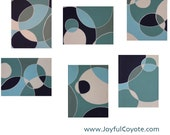 Original blue 'Calm' painting on 6 canvases, motif of relaxing & tranquil bubbles