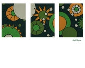 Green, white and yellow ORIGINAL MODERN triptych painting 'Joy'