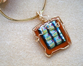 Colorful and Unique Gold Wire Wrapped Fused Glass Pendant
