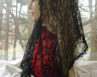 Mantilla Chapel Veil / Catholic Lace Headcovering / Catholic Church Veil /  Prayer Veil. The Anastasia Veil.