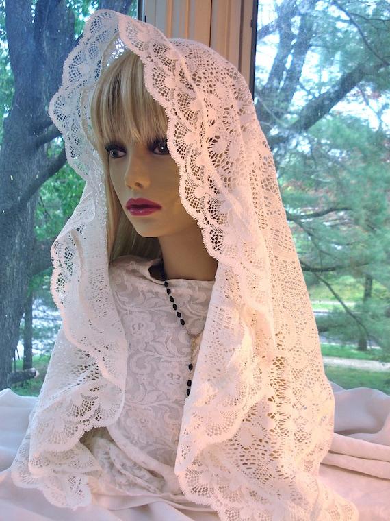The Paula Veil. A Long Cream Colored Mantilla / Catholic Lace Headcovering / Oblong Chapel Veil.