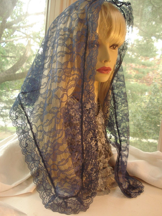 A Long Navy Blue Mantilla / Catholic Headcovering / Blue Lace Tapered Triangle Veil. The Stella Maris Veil.
