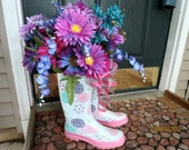 Singing in the Rain:  Wreath, Front Door Wreaths.  Summer, Spring, or Fall.  Pink, Purple, Aqua, Rain Boots, Daisies, Wisteria, Winter Lily
