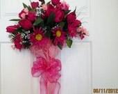 SALE SALE SALE 20% Off, Front Door Wreaths, Parasol, Wreath, Umbrella, Pink, Daisies, Tulips, Roses, White Gypso