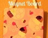 message board,  magnet board, food, fabric