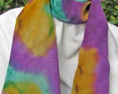 Hand Painted SILK SCARF in Gold, Purple, Teal