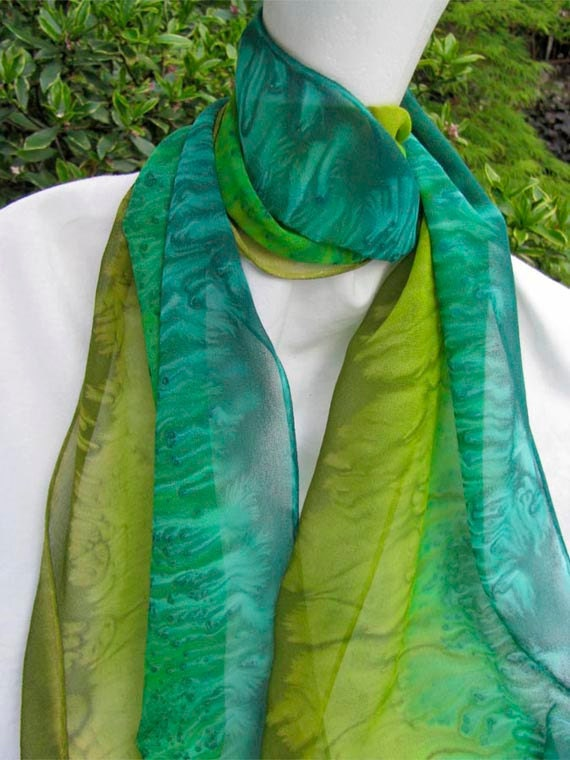 Olive Green and Teal Hand Painted SILK CHIFFON Scarf