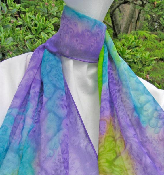 Lavender Turquoise Hand Painted  SILK CHIFFON SCARF