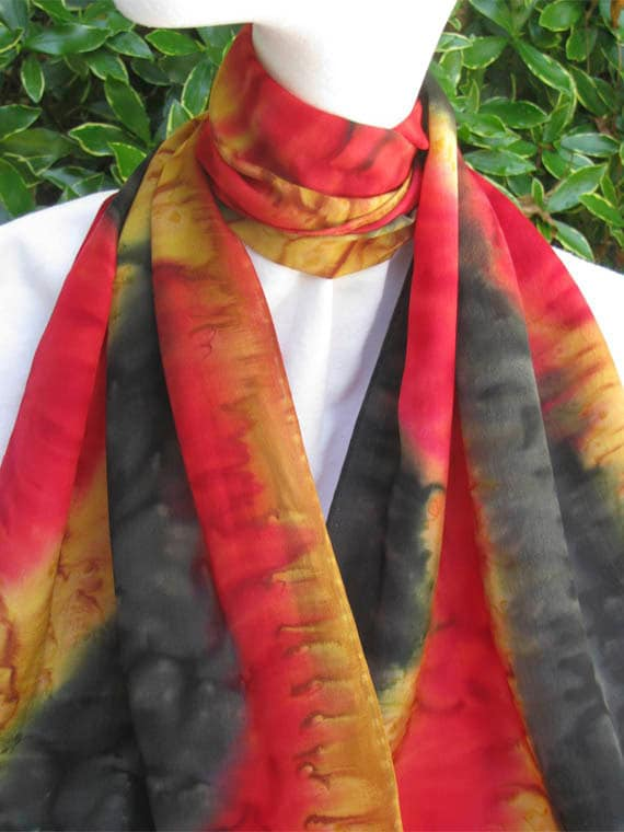 SILK SCARF Hand Painted in Bold Red, Black, and Gold