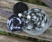 Girl headband, Soft stretchy band, fabric rosette, fabric flower, twisted rosette, vintage, rhinestones, any age, nylon mesh, tulle