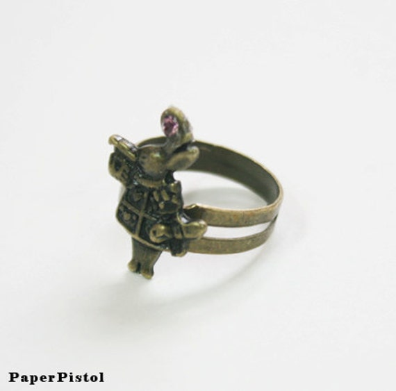 White Rabbit Ring Alice in Wonderland Bronze Purple Rhinestone