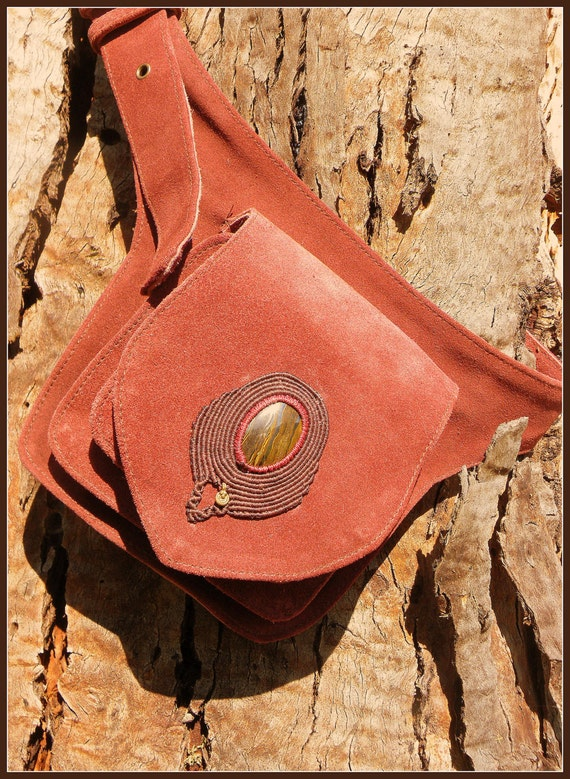 Handmade Red Leather Pocket Belt/Hippie Belt, with Macrame/Brass and Iron Tigers Eye Pendant (Goddess,Tribal,Women,Ethnic,Indian)