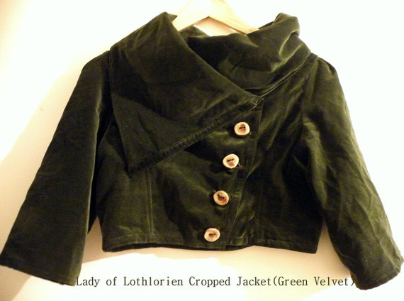 Lady of Lothlorien Cropped Jacket in Forest Green Velvet