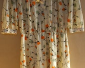 50s/60s Yellow Flower Print Flowy Sun Midi Dress with Quarter Sleeves Cinched Waist Retro Vintage from France