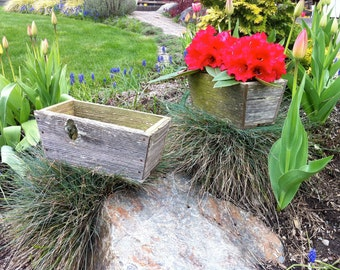 Tapered Barn Wood Flower Box Wedding Table Arrangement Set for Reception Area
