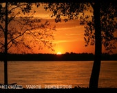 8x12 Fine Art Mississippi River Sunset. Beautiful Home and Office Decor Artwork.