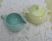 Vintage Taylor Smith Taylor Luray Blue and Yellow Pastel Creamer and Sugar 1940s