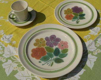 Franciscan Floral Earthenware - Four Piece Place Setting - Retro 1970s  - Tea Cup, Saucer, Dinner Plate and Salad Plate