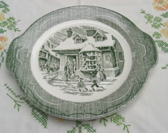 Royal China The Old Curiosity Shop Tab Handled Cake Plate Platter Green Transferware 1950s