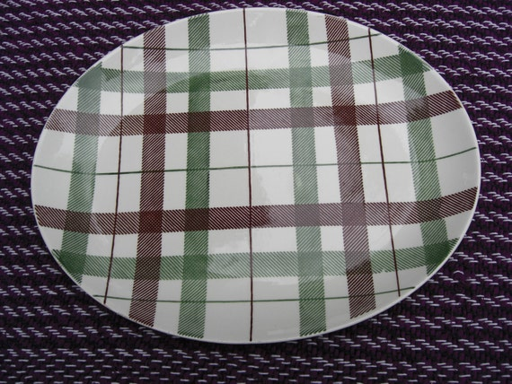 """Homer Laughlin Dura Print Brown and Green 14"""" Dundee Plaid Large Platter Mid Century Modern"""