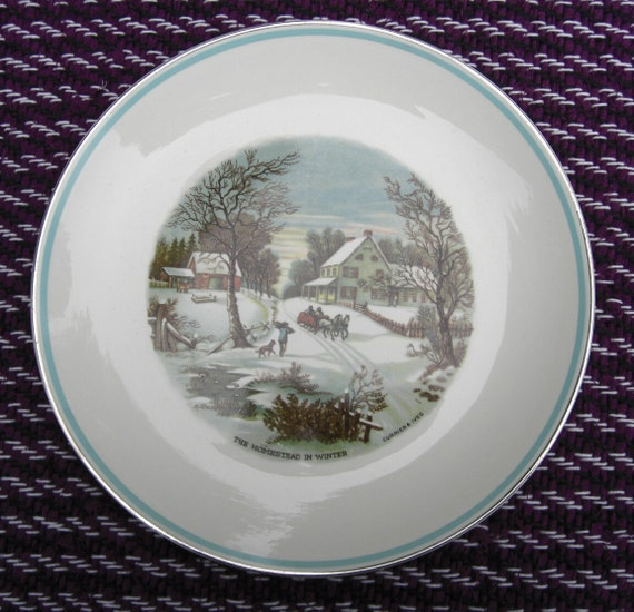 Homer Laughlin Rhythm Currier and Ives Luncheon Plate Aqua Blue RIng Gold Trim Homestead in WInter