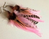 Pink Feather Earrings - Pixie Pink and grizzly short feather earings ready to ship feather jewelry