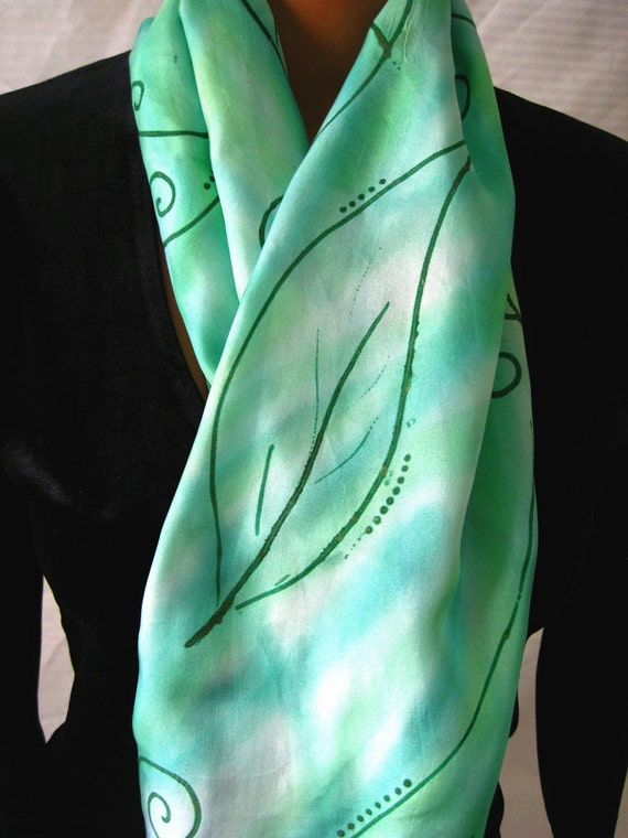 Willowy Green Silk Scarf With Gold Leaves. Hand Dyed Green Silk Scarf. 11x60 inch Silk Scarves Hand Painted. Green Scarves.