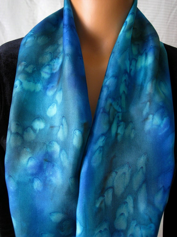 Marine Blues and Greens Silk Scarf. Hand Painted Silk Scarf In Aqua Blue & Green. 8x54 inch Teal Silk Scarves Hand Dyed.