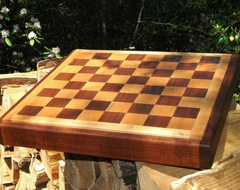 Chess Board Walnut & Maple, Handmade, Gift for him, Father's Day, Anniversary, Groomsman, Groom Gift
