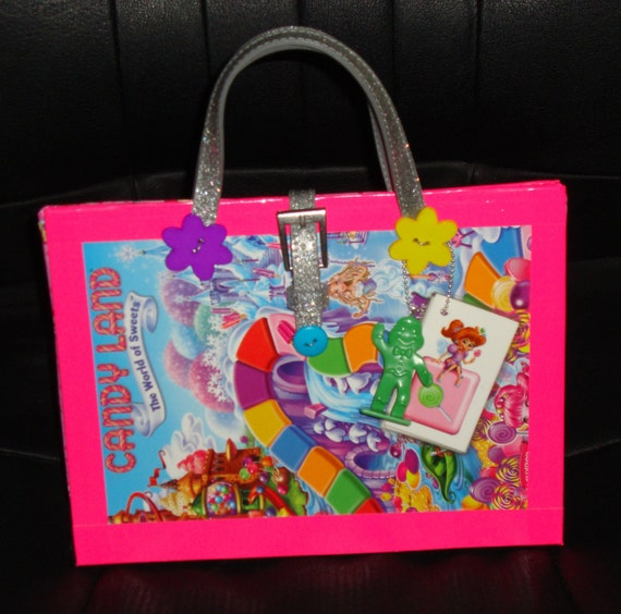Upcycled Candy Land Board Game Purse Novelty Gift made from Candy Land game board and game pieces