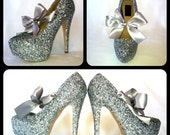 Silver Bullet Grey Gray Glitter Pump High Heels with Satin Bows