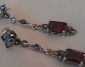 """925 .925 Sterling Silver 3/4"""" X 1/4"""" Earrings 4.22 Grams Marcasite Style With big Reddish Stones and Shiny Little Stones"""