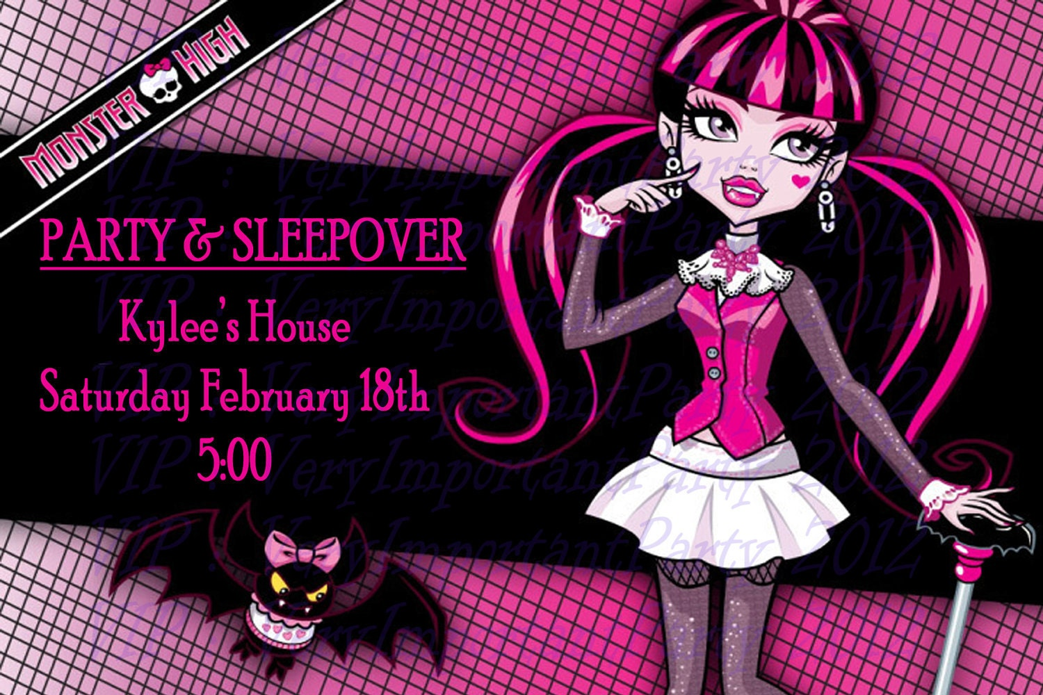 draculaura monster high party invitation set with rsvp card, Birthday card