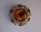 Orange Rhinestone Button