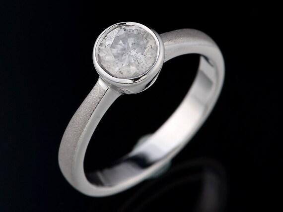 Brilliant Round .40 carat Diamond Fancy Unique Custom Sterling Silver Solitaire Ring