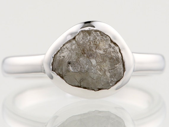 2.53 carat Nice Glossy Rough Diamond Polished Sterling Silver Hand Made Ring