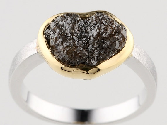 3.53 carat Very Shiny Brown Rough Diamond 18K Bezel Sterling Silver Ladies Ring