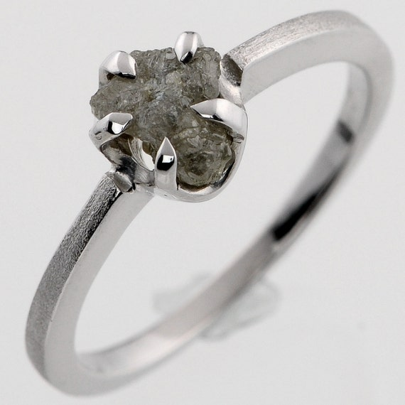 1.05ct Shiny Silvery uncut Raw Rough Diamond Solitaire Sterling Silver Engagement Ring