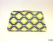 Fabric Clutch Bag, large: beige/green/blue onion shape pattern ''Darlene''