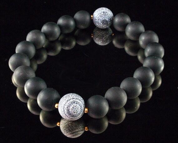 Black Yoga Bracelet - Yoga Meditation - Black Mala Beads, Om Jewelry, Zen Bracelet, Yoga Stretch Bracelet, Om Wrist Mala, Healing Gemstones