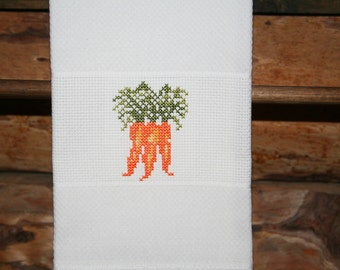 Cross Stitched Carrots on  a Huck Towel. One of my Vegetable Motifs.