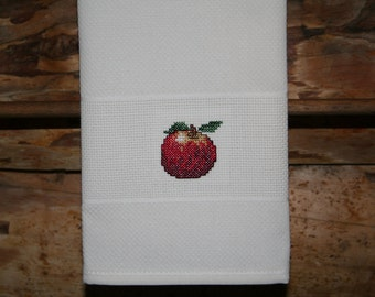 Cross Stitched Apple on huck material hand towel. One of my Fruit Motifs.