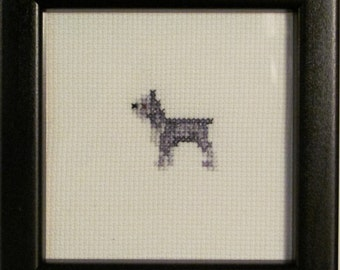 Miniature Schnauzer Cross Stitched Full Body Dog.