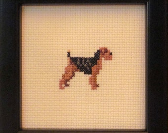 Welsh Terrier Cross Stitched Full Body Dog.