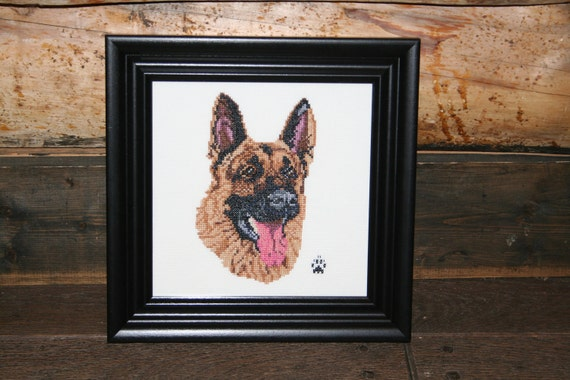 German Shepherd Cross Stitched Full Face Dog.
