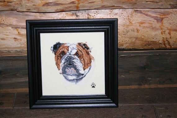 Bulldog Cross Stitched Full Face Dog.